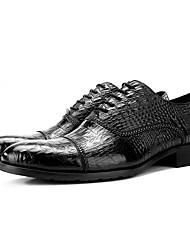 abordables -Hombre Zapatos formales Cuero de Napa Primavera Oxfords Negro