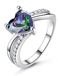 cheap -Women's Cubic Zirconia Stylish Ring - Heart Korean, Fashion 6 / 7 / 8 Rainbow For Gift / Date