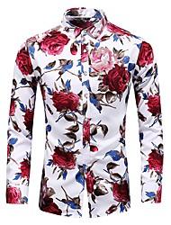 baratos -Homens Camisa Social Básico Estampado, Floral