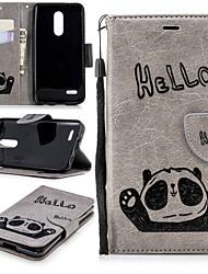 economico -Custodia Per LG K10 2018 A portafoglio / Porta-carte di credito / Con supporto Integrale Panda Resistente pelle sintetica per LG K10 2018