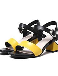 cheap -Women's Shoes Nappa Leather Summer Basic Pump Sandals Block Heel Yellow / Green