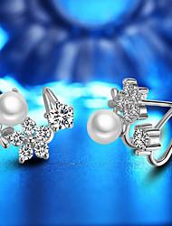 abordables -Mujer Perlas de agua dulce Lámparas Araña Pendients de aro - Chapado en Oro Moda Blanco / Oro Rosa Para Fiesta / Diario