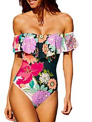 abordables -Femme Sans Bretelles Bandeau Une-pièce - Imprimé, Fleur Taille haute
