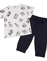 Недорогие -малыш Девочки Активный / Классический Праздники С принтом С принтом С короткими рукавами Набор одежды / Дети (1-4 лет)