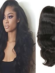 Недорогие -Натуральные волосы Полностью ленточные Парик Перуанские волосы Естественные кудри Парик Ассиметричная стрижка 130% / 150% / 180% Без запаха / Шерсть / Новое поступление Черный Жен. Средняя длина