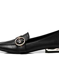 baratos -Mulheres Sapatos Pele Napa Primavera Conforto Mocassins e Slip-Ons Salto Baixo Preto / Castanho Escuro
