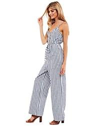 abordables -Femme Sortie Coton Combinaison-pantalon Rayé Col en V