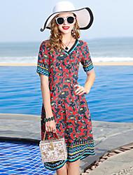 cheap -YENMEINAR Women's Basic / Elegant A Line Dress - Floral / Plaid