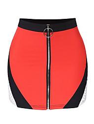 baratos -Mulheres Activo Bodycon Saias - Sólido Preto e Vermelho