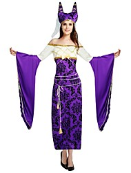 cheap -Egyptian Costume Costume Women's Halloween Carnival Masquerade Festival / Holiday Halloween Costumes Outfits Purple Solid Colored Halloween Halloween