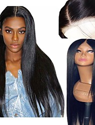 cheap -Synthetic Wig / Synthetic Lace Front Wig Straight Layered Haircut Synthetic Hair 26 inch Soft / Adjustable / Heat Resistant Black / Brown Wig Women's Long Lace Front Natural Black / Yes