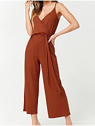 cheap -women's cotton romper - solid colored wide leg