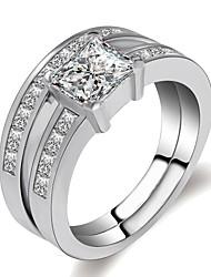 baratos -Mulheres Camadas / Fashion Conjunto de anéis - Pedaço de Platina, Imitações de Diamante Coroa, Imagine Clássico, Romântico, Fashion 6 / 7 / 8 Prata Para Presente / Festa de Noite / 2pcs