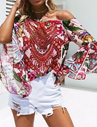 cheap -women's cotton blouse - floral boat neck