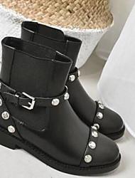 Недорогие -Жен. Обувь Наппа Leather Весна лето Босоножки / Модная обувь Ботинки На толстом каблуке Закрытый мыс Сапоги до середины икры Черный