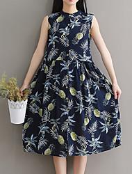 abordables -Mujer Básico Línea A Vestido - Estampado, Fruta Hasta la Rodilla Piña