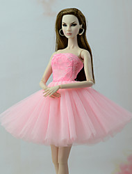Недорогие -Платья Платье Для Barbiedoll Розовый Тюль / Кружево / Шелково-шерстяная ткань Платье Для Девичий игрушки куклы