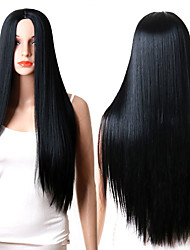 cheap -Synthetic Wig Straight Middle Part Synthetic Hair Adjustable / Heat Resistant / Synthetic Black Wig Women's Long Capless / Yes