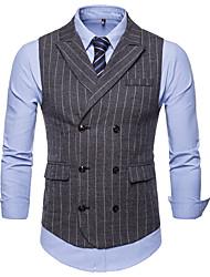 cheap -Men's Plus Size Vest-Striped Peaked Lapel / Sleeveless