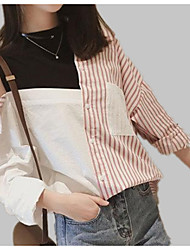 cheap -Women's Shirt - Solid Colored / Striped / Color Block Patchwork