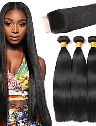 cheap -3 Bundles with Closure Indian Hair Straight Human Hair Hair Weft with Closure 8-24 inch Human Hair Weaves Machine Made Natural / Best Quality / Hot Sale Black Natural Color Human Hair Extensions