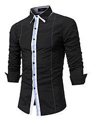 cheap -Men's Shirt - Color Block Patchwork