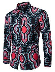 Недорогие -Муж. С принтом Рубашка Классический Контрастных цветов / Этно