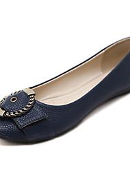 baratos -Mulheres Sapatos Couro Ecológico Primavera Verão Conforto Rasos Sem Salto Ponta Redonda Laço / Presilha Azul / Amêndoa