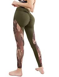 baratos -Mulheres Ruched Butt Lifting Calças de Yoga Esportes camuflagem Meia-calça Corrida, Fitness, Ginásio Roupas Esportivas Secagem Rápida, Confortável Micro-Elástica