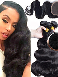 cheap -3 Bundles with Closure Malaysian Hair Wavy Human Hair Hair Weft with Closure 8-22 inch Human Hair Weaves 4x4 Closure Extention / Hot Sale / Lace Closure Natural Color Human Hair Extensions All