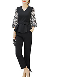 abordables -Mujer Blusa - A Cuadros Pantalón