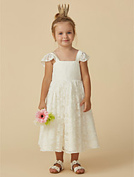 cheap -A-Line Tea Length Flower Girl Dress - Lace Short Sleeve Strap with Bow(s) by LAN TING BRIDE®