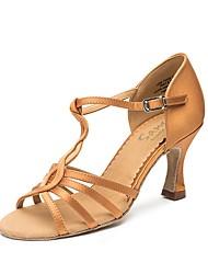 baratos -Mulheres Sapatos de Dança Latina / Dança de Salão Couro Ecológico Têni Salto Grosso Sapatos de Dança Dourado / Preto / Marron