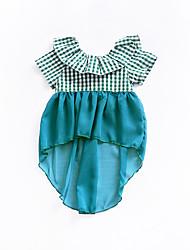 cheap -Baby Girls' Plaid Short Sleeves Dress