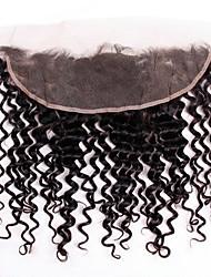 Недорогие -Бразильские волосы 4X13 Закрытие Волнистый Швейцарское кружево Натуральные волосы Жен. Лучшее качество / 100% девственница / вьющийся Рождество / Новогодние подарки / Свадьба