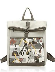 cheap -Women's Bags PU(Polyurethane) School Bag Buttons Beige / Gray