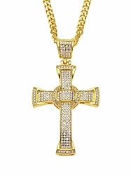 cheap -Men's Cubic Zirconia Classic / Cuban Link Pendant Necklace / Chain Necklace - Cross, Faith Classic, European, Hip-Hop Cool Gold, Silver 70 cm Necklace Jewelry 1pc For Street, Festival
