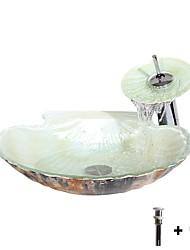 abordables -Lavabo de Baño / Grifería de Baño / Anillo de Montura de Baño Moderno - Vidrio Templado Redondo