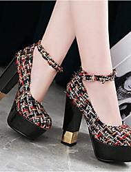 cheap -Women's Shoes Linen Spring / Fall Comfort / Basic Pump Heels Chunky Heel White / Black / Almond