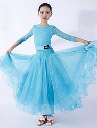 cheap -Ballroom Dance Dresses Women's / Girls' Training / Performance Lace / Georgette Draping / Lace High Dress / Belt