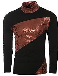 baratos -Homens Camiseta Básico / Moda de Rua Patchwork, Estampa Colorida
