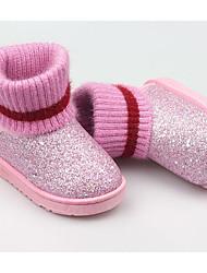 Недорогие -Девочки Обувь Синтетика Зима Удобная обувь / Зимние сапоги Ботинки для Черный / Лиловый / Розовый
