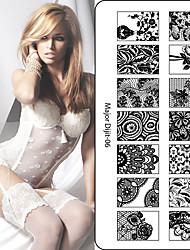 baratos -10 pcs Dicas de unhas artificiais Nail Art Kit Prego Carimbando Ferramenta Modelo Multi-Tipo / Renda arte de unha Manicure e pedicure Alta qualidade / Bricolage
