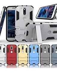 Недорогие -Кейс для Назначение Motorola G4 Plus со стендом Кейс на заднюю панель Однотонный Твердый ПК для Мото G4 Plus / Moto G4 Play / MOTO G4