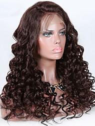 abordables -Cabello Virgen 360 frontal Peluca Cabello Brasileño Rizado Peluca Partida profunda 150% Mujer Natural Mujer Larga Pelucas de Cabello Natural / Coletas