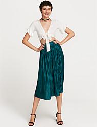 abordables -Mujer Básico / Tejido Oriental Columpio / Línea A Faldas Un Color