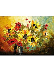 cheap -STYLEDECOR Modern Hand Painted Abstract Knife Draw Red and Yellow Flowers on Canvas Oil Painting for Wall Art