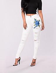 Недорогие -Жен. Уличный стиль Обтягивающие Джинсы Брюки - Цветочный принт Завышенная Белый / Сексуальные платья