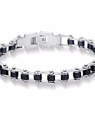 cheap -Men's Stylish Link Bracelet - Titanium Steel Creative Stylish, Simple, Korean Bracelet Black For Gift / Daily