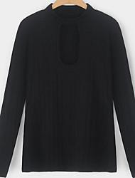 cheap -Women's Basic Blouse - Solid Colored Black & White, Tassel